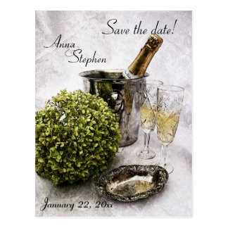 Sparkling wine and crystal goblets save the date postcard