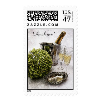Sparkling wine and goblets thank you postage
