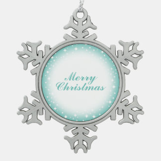 Sparkling Winter Merry Christmas Ornamen Snowflake Pewter Christmas Ornament