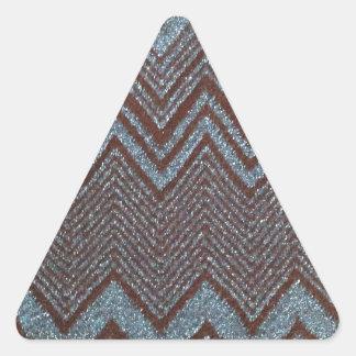 Sparkling zig zag design triangle sticker