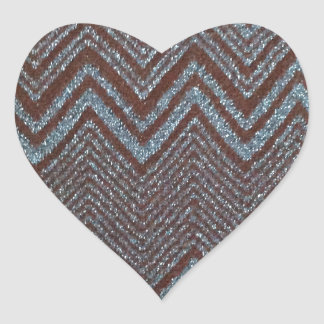 Sparkling zig zag design heart sticker