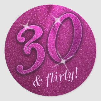 Sparkly 30 and Flirty Birthday Party Stickers
