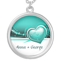 sparkly aqua  hearts silver plated necklace