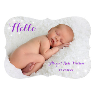 Sparkly Birth Announcement in purple