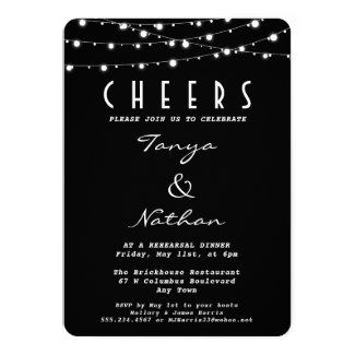 Sparkly Black Elegant Rehearsal Dinner Invitation
