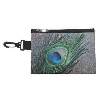 Sparkly Black Peacock Feather Still Life Accessories Bag