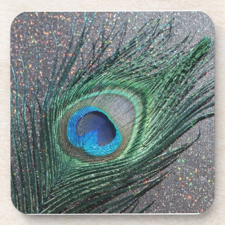 Sparkly Black Peacock Feather Still Life Beverage Coaster