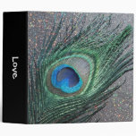 Sparkly Black Peacock Feather Still Life Binder