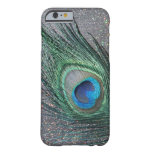 Sparkly Black Peacock Feather Still Life Barely There iPhone 6 Case