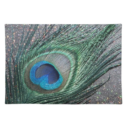 Sparkly Black Peacock Feather Still Life Cloth Placemat