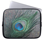 Sparkly Black Peacock Feather Still Life Laptop Computer Sleeves