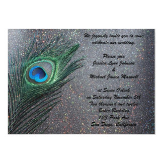 Sparkly Black Peacock Wedding Card