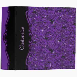 Sparkly Black & Purple Butterfly Floral Binder