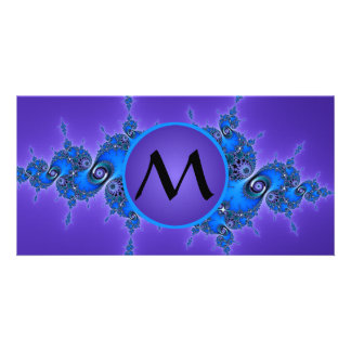 Sparkly Blue Arabesque with Monogram on Purple Picture Card