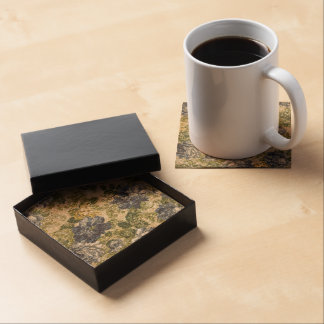 Sparkly Blue Flower Brocade Drink Coasters