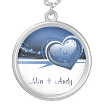 sparkly blue hearts silver plated necklace