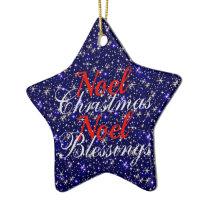 Sparkly Blue Noel Christmas Blessings Ceramic Ornament