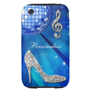 Sparkly Blue/silver Music Note & Stiletto Heel iPhone 3 Tough Cover