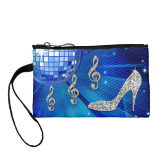 Sparkly Blue/silver Music Note & Stiletto Heel Coin Purse