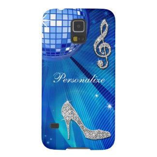 Sparkly Blue/silver Music Note & Stiletto Heel Galaxy S5 Cover