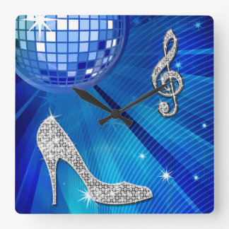 Sparkly Blue/silver Music Note & Stiletto Heel Square Wall Clock