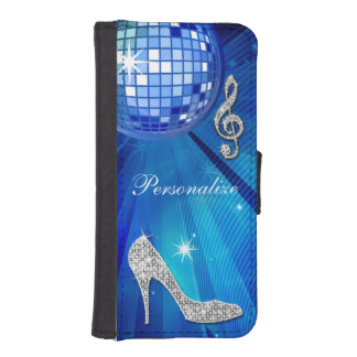 Sparkly Blue/silver Music Note & Stiletto Heel Wallet Phone Case For iPhone SE/5/5s