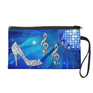Sparkly Blue/silver Music Note & Stiletto Heel Wristlet