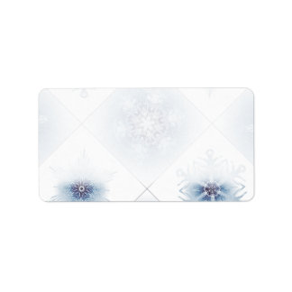 Sparkly Blue Snowflakes Address Label