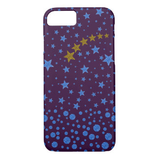 Sparkly blue stars on purple iPhone 8/7 case
