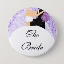 Sparkly Bride Bridal Party  Button / Pin Purple