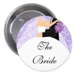 Sparkly Bride Bridal Party  Button / Pin Purple