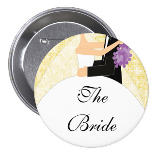 Sparkly Bride Bridal Party  Button / Pin Yellow