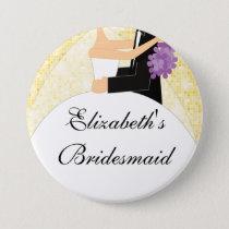 Sparkly Bride Bridesmaid  Button / Pin Yellow