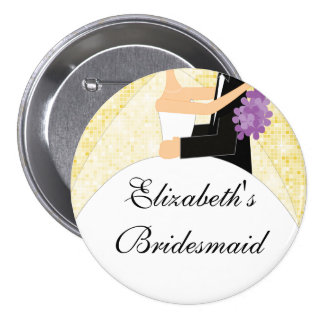 Sparkly Bride Bridesmaid  Button / Pin Yellow