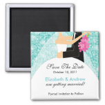 Sparkly Bride Groom Save The Date Magnet