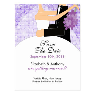Sparkly Bride Groom Save The Date POSTCARD! Postcard