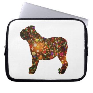 Sparkly Bulldog Bokeh Silhouette Laptop Sleeve