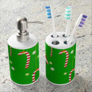 Sparkly Candy Canes Toothbrush Holder Set