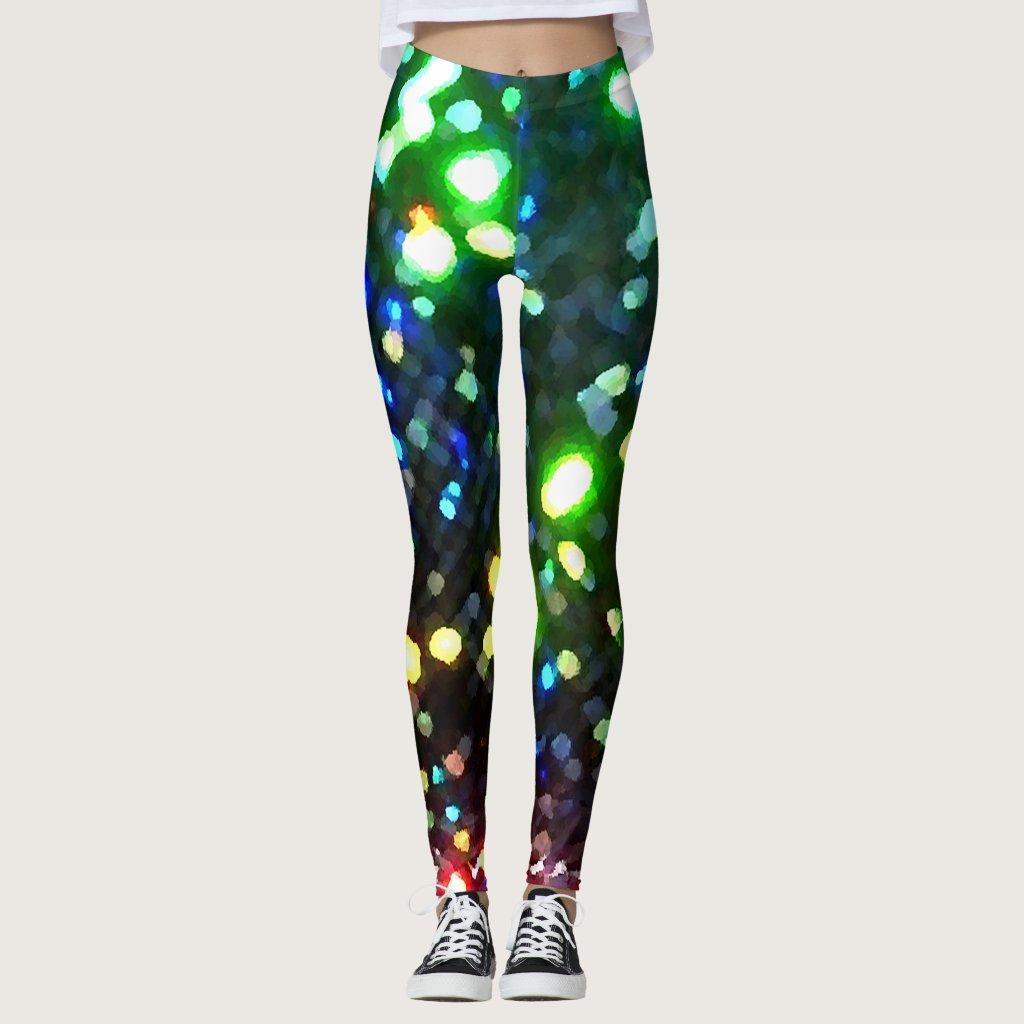 Sparkly Christmas Holiday Glittery Lights Sparkle Leggings