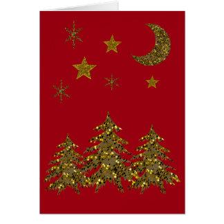 Sparkly Christmas sparkly tree, moon, stars Card