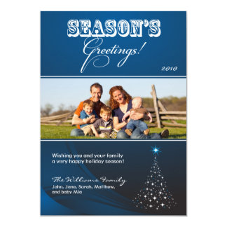 Sparkly Christmas Tree Holiday Card (blue)