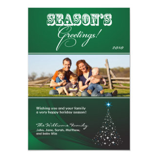 Sparkly Christmas Tree Holiday Card (green)