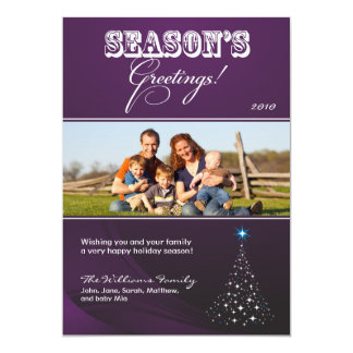 Sparkly Christmas Tree Holiday Card (purple)