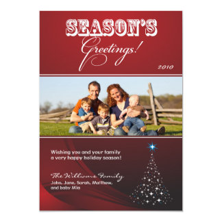 Sparkly Christmas Tree Holiday Card (red)