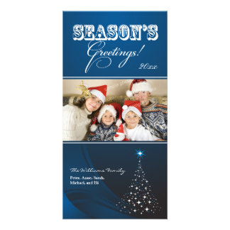 Sparkly Christmas Tree Holiday Photocard (blue) Personalized Photo Card