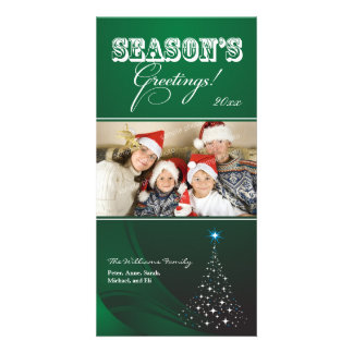 Sparkly Christmas Tree Holiday Photocard (green) Card