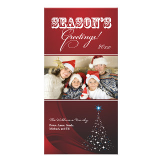 Sparkly Christmas Tree Holiday Photocard (red) Custom Photo Card