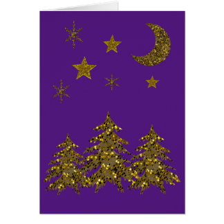 Sparkly Christmas tree, moon, stars Card