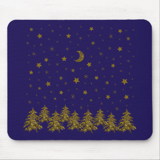 Sparkly Christmas tree, moon, stars Mouse Pad
