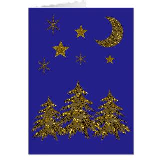 Sparkly Christmas tree, moon, stars on blue Card